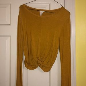 Yellow long sleeve cropped blouse